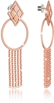 Rebecca Melrose Rose Gold Over Bronze Drop Hoop Earrings w/Chain Fringes