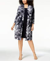Connected Plus Size Printed Mock-Jacket Dress