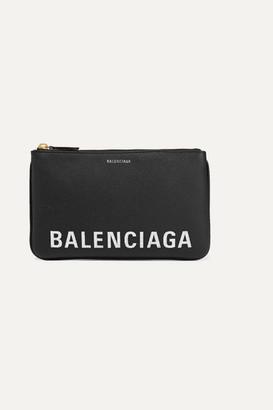 Balenciaga Ville Printed Textured-leather Pouch - Black