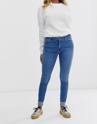 Pimkie stud detail skinny jeans in blue