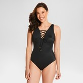 Dreamsuit by Miracle Brands Women's Slimming Control Lace-Up One Piece Swimsuit - Black - 12 - Dreamsuit® by Miracle Brands