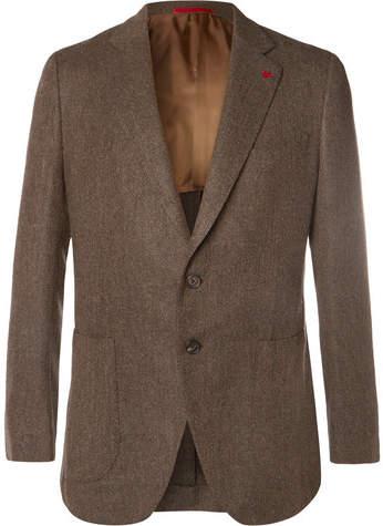 Isaia Brown Herringbone Wool Blazer