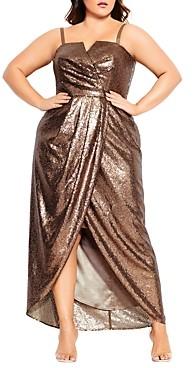 City Chic Plus Sleeveless Sequined Maxi Dress
