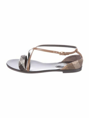 Burberry Studded Accents Slingback Sandals Brown