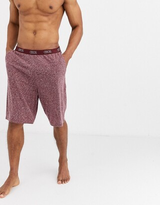 ASOS DESIGN lounge pyjama shorts in burgundy marl with branded waistband