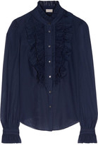 Temperley London Strawberry Ruffled Cotton And Silk-blend Blouse - Navy