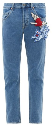 Gucci Padded-applique Tapered Cotton Jeans - Mens - Blue