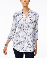 JM Collection Petite Printed Shirt, Only at Macy's