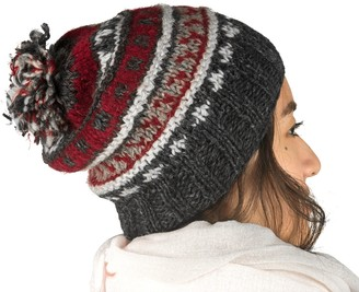 Tribe Azure Fair Trade 100% Wool Warm Winter Hat Fleece Lining Women Beanie Pom Pom Skull Snow (Red Grey)