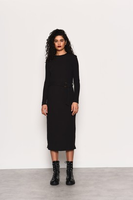 Glamorous Womens **Belted Luxe Jersey Midi Dress By Black