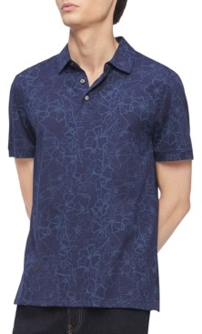 Calvin Klein Men's Regular-Fit Floral-Print Polo Shirt