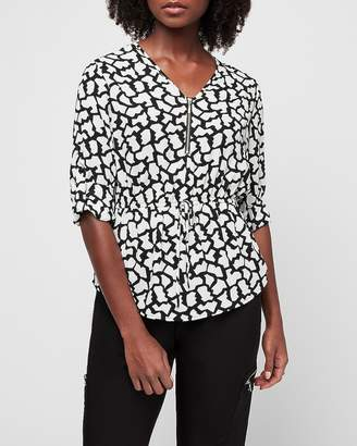 Express Geometric Print Zip Front Cinched Waistband Chelsea Popover