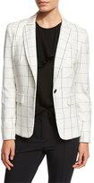 Veronica Beard Clubhouse Cutaway Jacket, White/Black