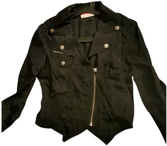 DKNY Black Silk Trench Coat for Women