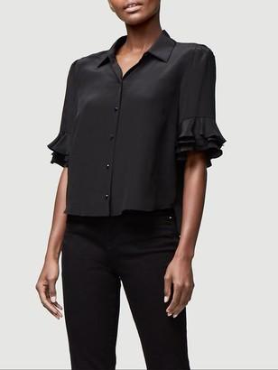 Frame Ruffle Sleeve Silk Top
