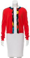 Moschino Floral-Trimmed Cashmere Cardigan