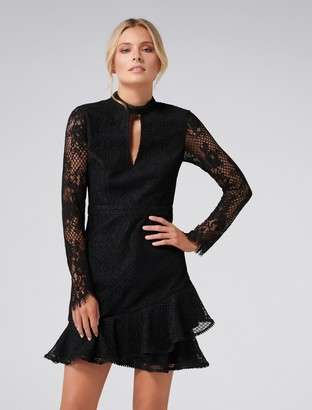 Forever New Angelina Long-Sleeved Lace Mini Dress - Black - 4
