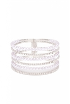 Quiz Silver Pearl And Diamante Multi Strand Cuff