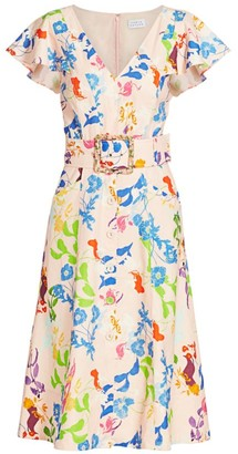 Tanya Taylor Jan Multi-Print Belted Midi Dress