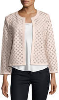 Neiman Marcus Leather Grid Jacket, Light Pink