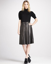 Burberry Pleated Leather Skirt