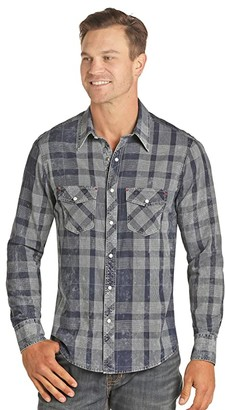 Rock and Roll Cowboy Check Long Sleeve Snap B2S4058 (Blue) Men's Clothing