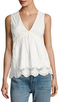 Romeo & Juliet Couture Sleeveless Lace-Trim Cotton Top, White