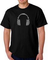 Men's Word Art Headphones T-Shirt in Black