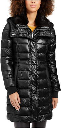 French Connection Hooded Faux-Fur-Trim Collar Puffer Coat