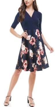 Monteau Petite Wrap-Top Floral-Skirt Fit & Flare Dress