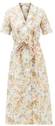 Ephemera - Floral-print Linen Shirt Dress - Yellow Print