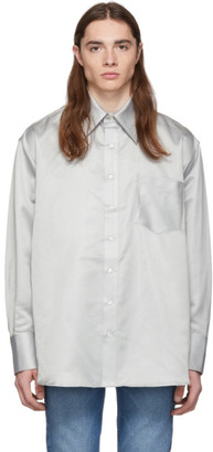 Matthew Adams Dolan Silver Silk Satin Oversized Shirt