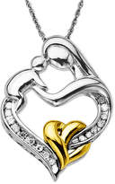 Macy's Mother and Infant Diamond Pendant Necklace in 14k Gold and Sterling Silver (1/10 ct. t.w.)