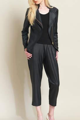Clara Sunwoo Knit Liquid Leather Multi Zip Jacket