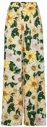Dolce & Gabbana Floral stretch-silk palazzo pants
