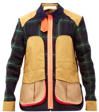 BEIGE La Fetiche - River Panelled Wool Tartan Jacket - Womens Navy