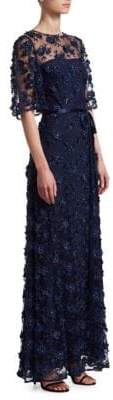 David Meister Embroidered Floral Gown