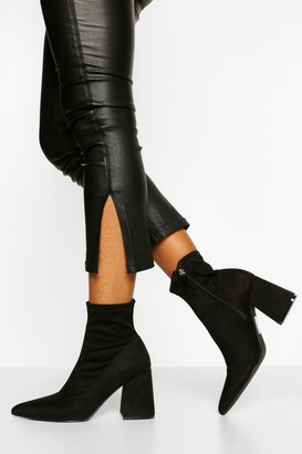 boohoo Block Heel Pointed Toe Shoe Boot