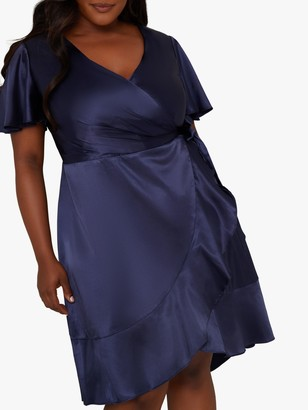 Chi Chi London Curve Gillie Satin Wrap Dress, Navy