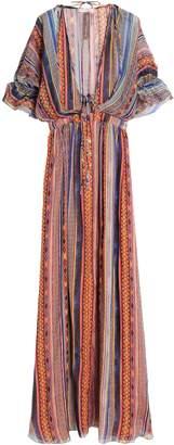 Matthew Williamson Saya Gathered Striped Silk-chiffon Maxi Dress