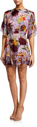 Alice + Olivia Katrina Bell-Sleeve Ruffle Dress