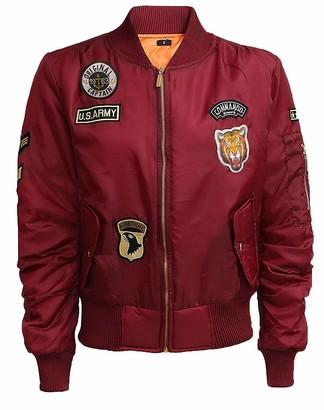 Juicy Trendz Womens Ladies Classic Army Military Air Force Style Combat Badge Bomber Jacket Biker Coat Black S