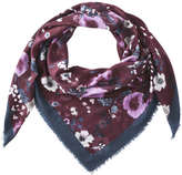Joe Fresh Women's Floral Square Scarf, Burgundy (Size O/S)