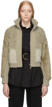 Stella McCartney Beige Faux-Fur Jacket