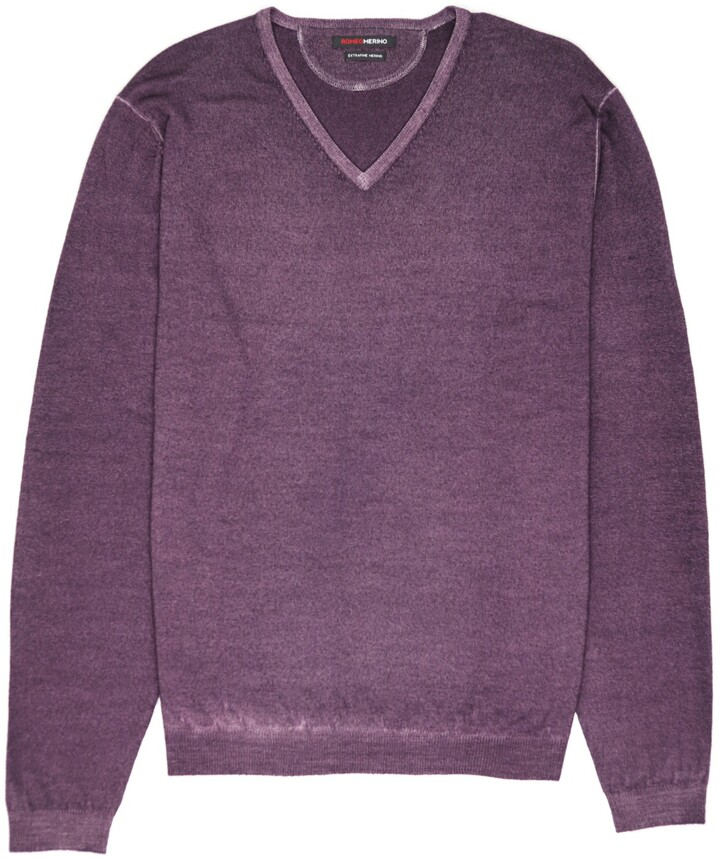 Romeo Merino - Merino Wool Pigment-Dyed Sport V-Neck Black Current