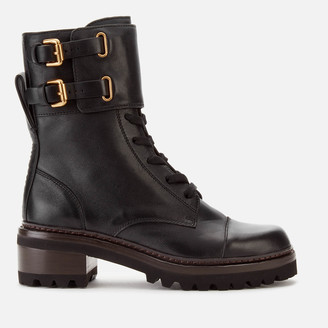 See by Chloe Women's Leather Lace Up Military Boots - Nero
