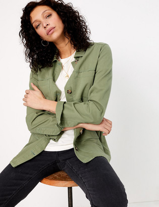 Marks and Spencer Cotton Rich Tie Waisted Utility Jacket