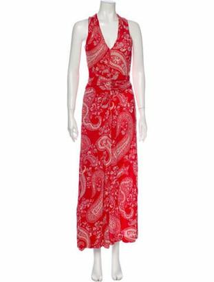 Etro Paisley Print Long Dress Red