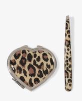 Forever 21 Leopard Mirror Compact & Tweezer Set