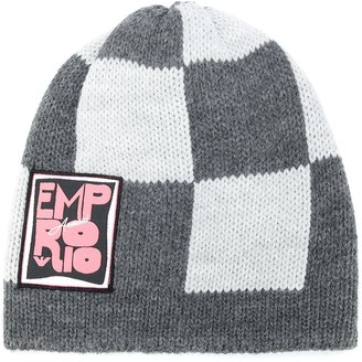 Emporio Armani Checkered Knitted Beanie